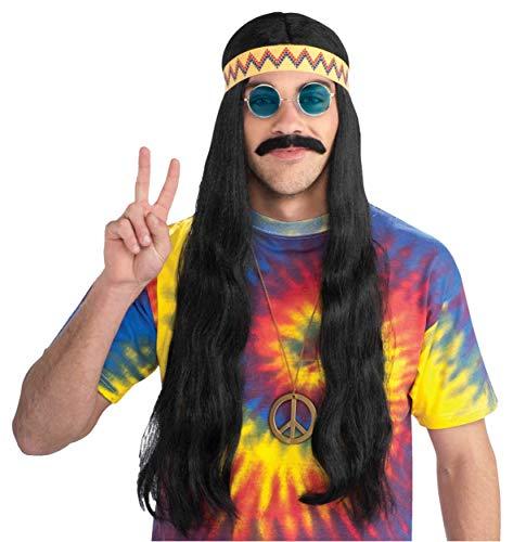 (Hippie Dude Wig with Headband Costume Accessory)