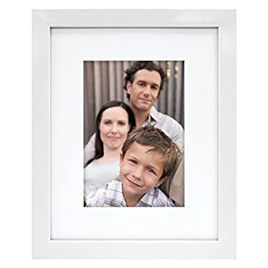 MCS 8X10 Gallery Picture Frame Matted to Display 5X7 Pictures Glass Front (White)