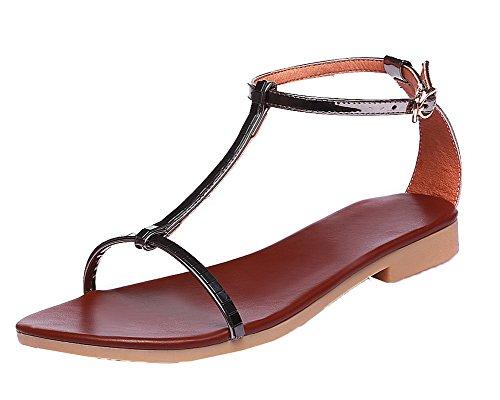 VogueZone009 Materials Black Toe Open Solid Heels Blend Sandals Low Women Buckle v4n4f