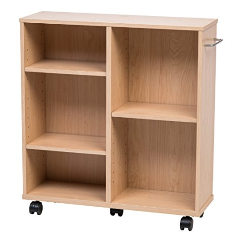 Rolling Bookshelf - IRIS USA, Inc. 596720 WRS-2408 Rolling Shelf, Standard, Light Brown