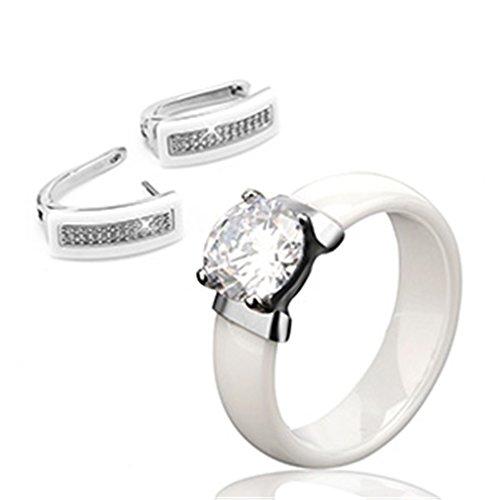 Jewelry Set Black White Ceramic Ring & Earrings Wedding Accessories U Shape Stud Earrings And Rings white 7 - Set Earrings Ceramic