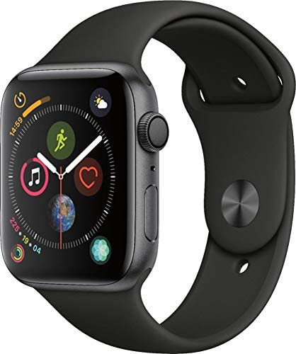 Apple Watch Series 4 44mm GPS Only, Space Gray Aluminum - Black Sport Band (Renewed) 4