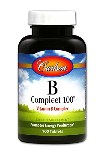 Carlson B-Compleet 100, High Potency B Complex, 100 Tablets