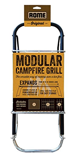 Rome Industries 135 Rome's Chrome Plated Steel Modular Folding Campfire Grill, 30-Inch by 7.5-Inch, Chrome