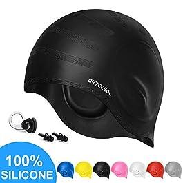 arteesol Swimming Cap, Silicone Swimming Hat Swim Caps Adult Waterproof Anti-slip Bathing Cap Ergonomic Design Ear…
