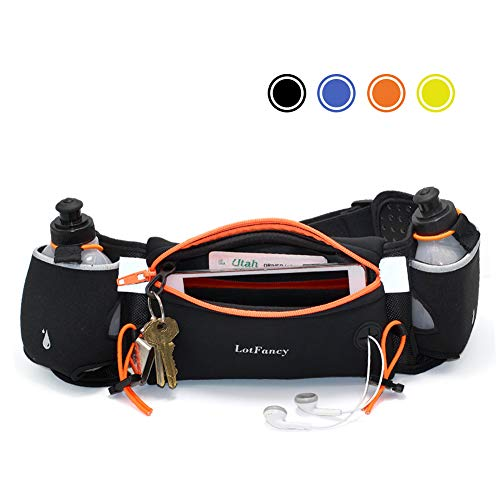(LotFancy Running Hydration Belt FREE 2 Water Bottle (BPA Free), Waist Belt Unisex Comfortable and Breathable, Best Partner for Marathon, Jogging, Cycling, Climbing, Camping and more)