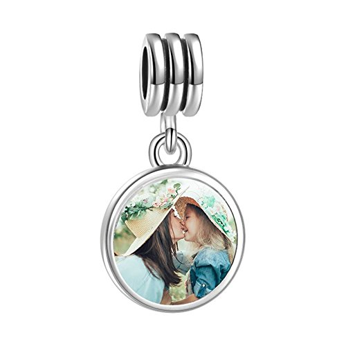 SOUFEEL Petal Dangle Personalized Photo Charms 925 Silver Customized Charm For European Bracelets Necklace