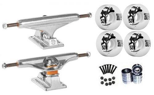Independent Silver 149mm Truck Package Skateboard Bones 100's Wheels 53mm mm Abec 7 Bearings