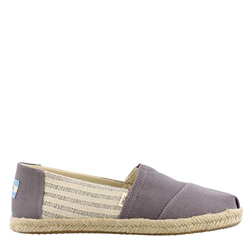 TOMS Women's Alpargata on Rope Drizzle Grey Ivy League Stripes On Rope 11 B US (Light Gray Toms)