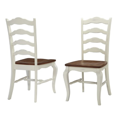 - French Countryside Oak/White Pair of Chairs by Home Styles