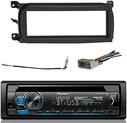 Pioneer Bluetooth In-Dash CD Car Stereo Audio Receiver Bundle Combo w Metra 99-6503 Installation Kit for 1998-Up Chrysler Dodge Jeep Vehicles, Antenna Adapter Cable, Radio Wiring Harness