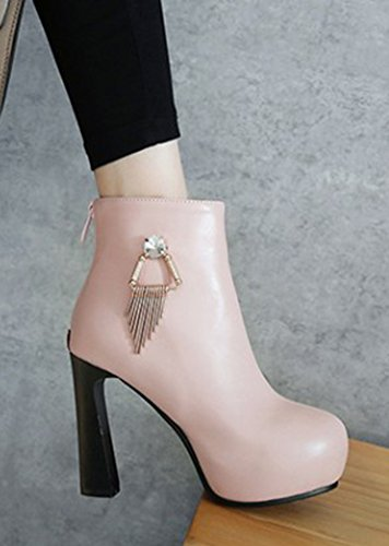 Boots Plateforme Chic Low Femme Bottines Haut Franges Aisun Rose Talon U0Zxq