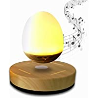 NASKY Maglev Levitation Bluetooth Speakers with Wood Grain Base LED Bulb Portable Wireless Smart Floating Night Light Lamp