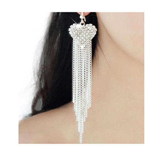 ManxiVoo Women Crystal Rhinestone Tassels Dangle Drop Earring Elegant Long Tassel Earrings (Diamond Dangle Flower)