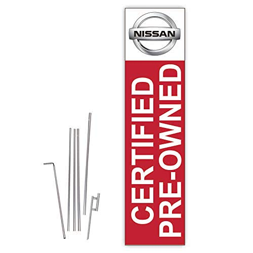 Cobb Promo Nissan Certified Pre-Owned (Red) Rectangle Boomer Flag with Complete 15ft Pole kit and Ground Spike