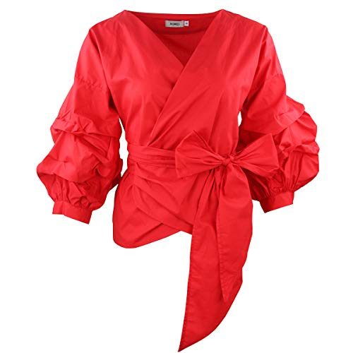 - AOMEI Red Color Women Spring Summer Blouses with Puff Sleeve Sashes Shirts Tops Size S