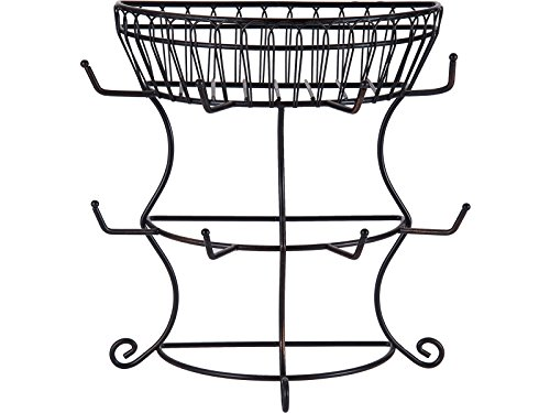 Gourmet Basics by Mikasa 5154681 French Countryside Metal Mug Tree with Storage Basket, 14.76 x 7.76 x 13.50