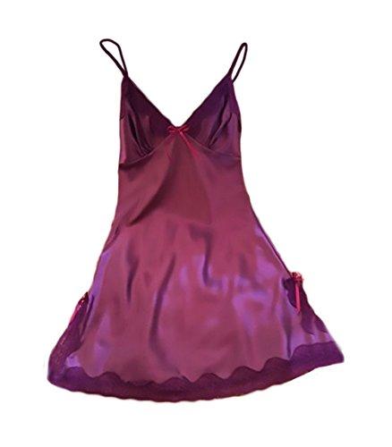 Classiche Hot Estivo Notte Pigiama Puro Attraente V Scollo Raso Unique Da Purple Lingerie Colore Completo Camicie Intimo Donna Erotici Sling Comode F6vTxp