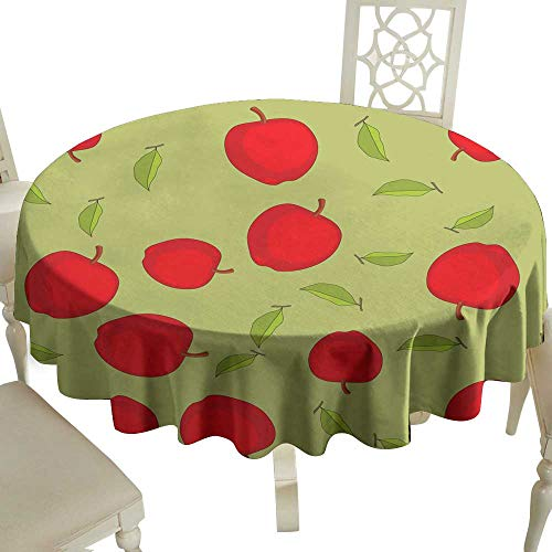 WinfreyDecor Elegance Engineered Tablecloth Seamless Pattern with Cartoon Apples Fruits Repeating Background Wallpaper Indoor Outdoor Camping Picnic ()