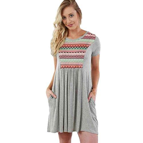 Gotd Women Floral Sundress Short Sleeve Casual Evening Party Beach Dress (XL, Gray)