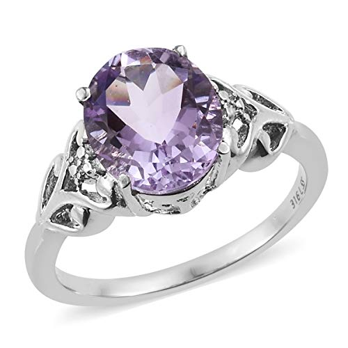 (Shop LC Delivering Joy Solitaire Ring Stainless Steel Oval Pink Amethyst Gift Jewelry for Women Size 5 Ct 3.4)