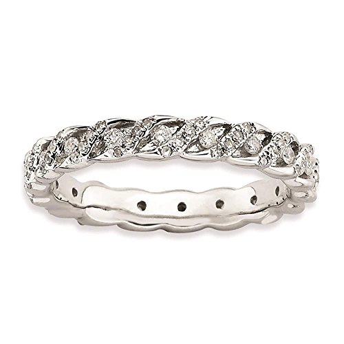925 Sterling Silver Rhodium plated 3.5mm Polished Diamond Eternity Ring