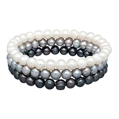 Honora Multi-Color Grey Ringed Freshwater Cultured Pearl Bangle Bracelet Set in Stainless Steel