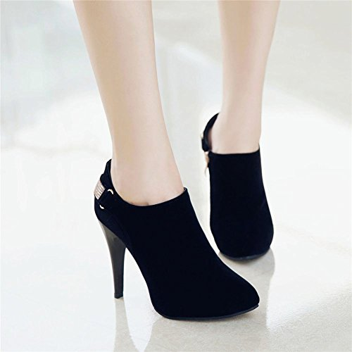 Boots Rhinestones Ankle Elegant Carolbar Heel High Black Dress Charm Women's 4qAf46xw8P