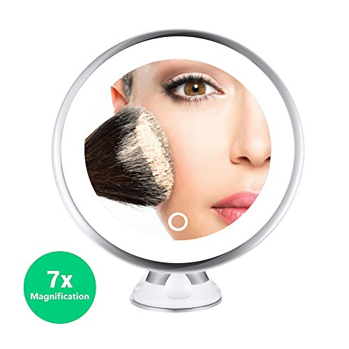 MelodySusie 7x Magnifying LED Lighted Makeup Mirror - Portable Bathroom Vanity Mirror -