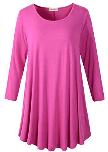LARACE Women 3/4 Sleeve Tunic Top Loose Fit Flare T-Shirt(S, Fushia)