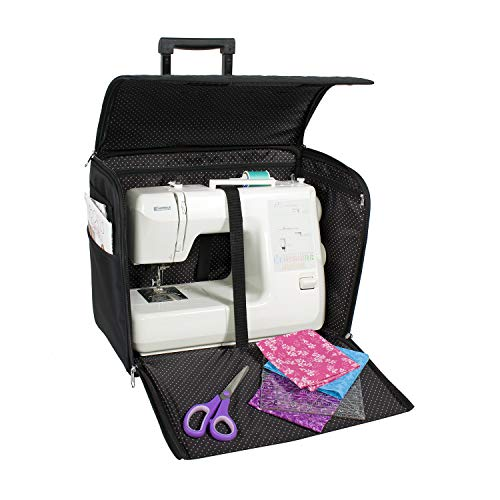 Everything Mary Black Quilted Rolling Sewing Machine Tote - Sewing Machine Case Fits Most Standard Brother & Singer Sewing Machines