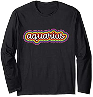 [Featured] Aquarius Gay Pride Rainbow Zodiac Astrology Birthday Gift Long Sleeve in ALL styles | Size S - 5XL