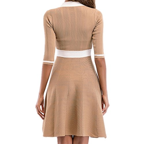 Dress Lace Bow Five V Waist Temperament Elegant Sleeve Up Women's NEW Dress Orange Neck 2018 q8wPTXxx