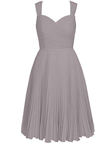 Bridesmaid Pleated Sweetheart Short Wedding Dresses Gray Cdress Straps Chiffon Womens qIw6H0HF