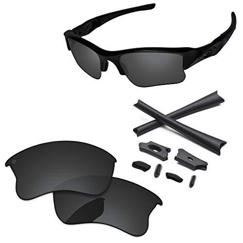 (PapaViva Lenses Replacement & Rubber Kits for Oakley Flak Jacket XLJ Pro+ Black Grey Polarized)