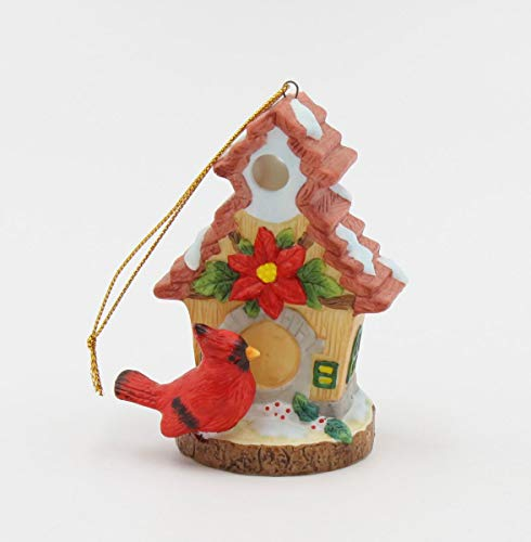 Cosmos Gifts Fine Porcelain Red Cardinal by Snow Birdhouse Christmas Tree Ornament, 3-1/4