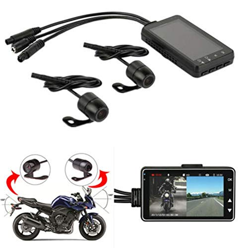 Yinrunx Motorcycle Recording Camera System, 720P HD Dual Lens Dvr Motorcycle Dash Cam, Motorbike Drive Video Recorder, 3.0