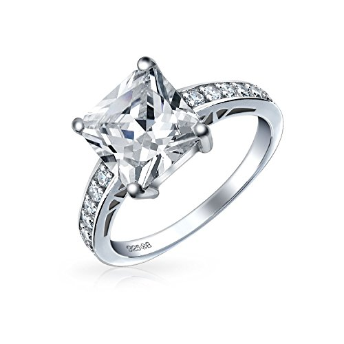 Simple 2.5CT Cubic Zirconia Brilliant Princess Cut AAA CZ Solitaire Engagement Ring Thin Pave Band 925 Sterling ()