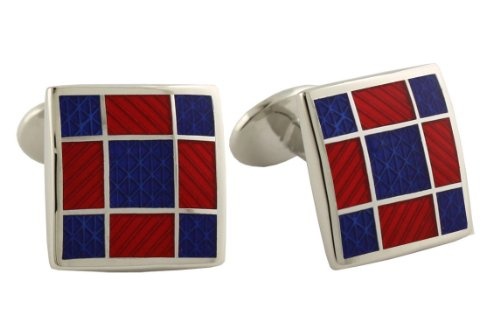 David Donahue Sterling Silver Squares Cufflinks - Blue / Red - Sterling Tone Silver Cufflinks Two