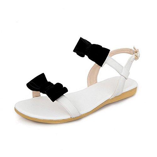 AllhqFashion Mujeres Sólido Hebilla Puntera Abierta Sandalias de vestir con Lazos Blanco