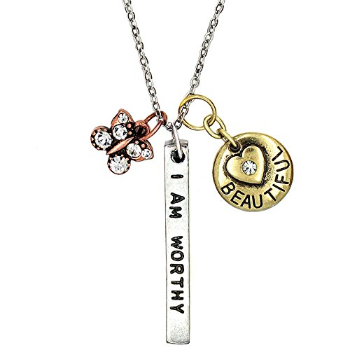 Jewelry with meaning amazon kis jewelry simple truths i am worthy i am strong pendant necklace three tone charm necklace with tiny crystal butterfly and simple heart great sports aloadofball Choice Image