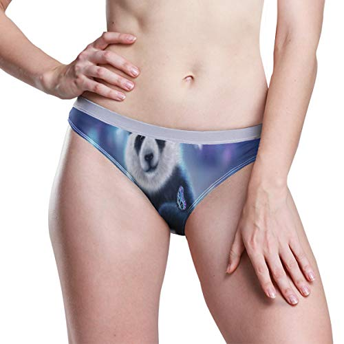 Cute Panda with Butterfly Dream Womens Underwear Ladies Hipster Panties Low Rise Briefs Thong