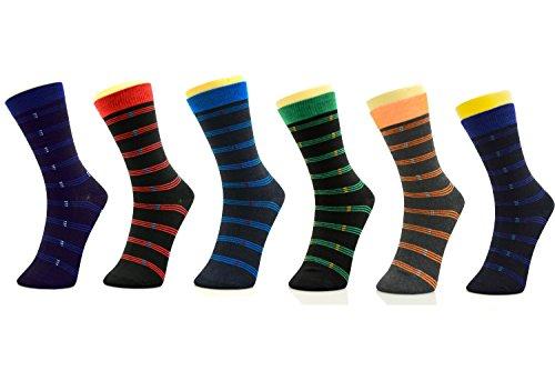 Yelete Men's Stripes on Black Crew Dress Socks 6-Pair Pack Size 10-13 Multicolor