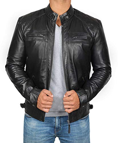 fjackets Black Leather Jacket for Men - Real Lambskin Mens Black Leather Jacket | [1100094], Johnson Black, L