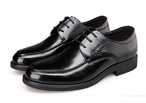 WZG casuales zapatos de cuero de los nuevos hombres de los zapatos de los hombres de negocios calzan los zapatos de vestir Black
