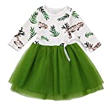 Crib and Dresser Combo Sale residentD Newest Christmas Girls Dress Long SleeveTutu Lace Outfits Fawn Leaf Print (3-4 Years, Green)