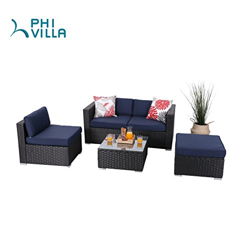 PHI VILLA 5-Piece Patio Furniture Set Rattan Sectional Sofa with Seat Cushions, Blue