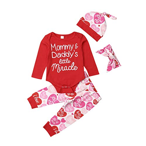 4 pcs Baby Girls Pants Set Newborn Infant Toddler Letter Romper Arrow Heart Pants Hats Headband Clothes (Red, 12-18 Months) ()