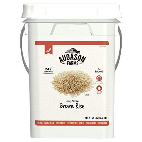 (Augason Farms Long Grain Brown Rice Emergency Food Storage 24 Pound Pail )
