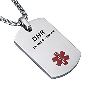 LiFashion LF Stainless Steel DNR Medical Alert Dog Tag ID Pendant Caduceus Necklace Men Women Teens Health Alert Monitoring Systems(Do Not Resuscitate)
